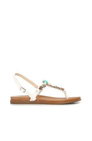 DIVARESE Taşlı Beyaz Sandalet