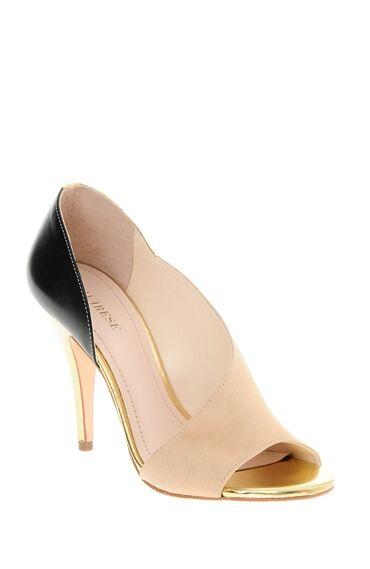 Süet Ve Deri Topuklu Ayakkabı