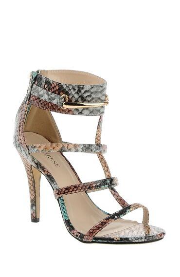 Yılan Derisi Baskılı Topuklu Ayakkabı