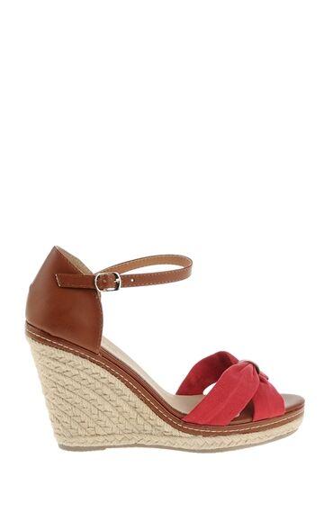 Taba-Kırmızı Topuklu Ayakkabı