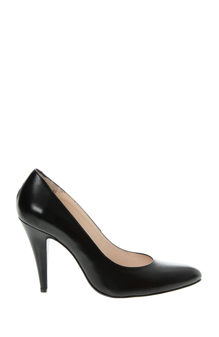 %100 Deri Siyah Topuklu Ayakkabı