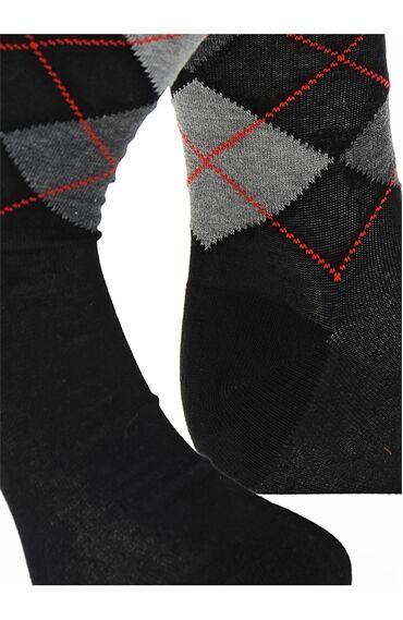 Ekose Desenli Siyah Çorap