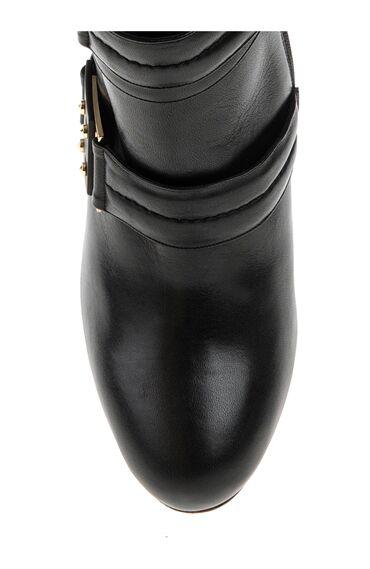 Siyah Deri Topuklu Bot