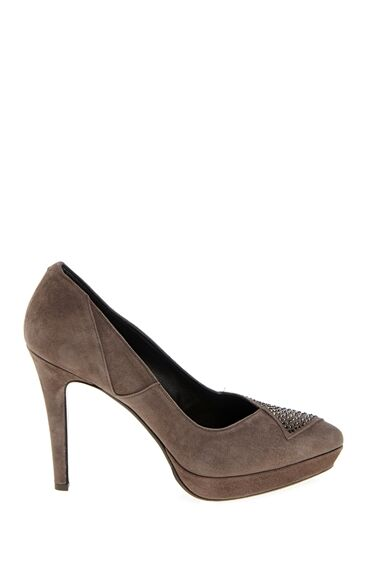 Vizon Süet Topuklu Ayakkabı