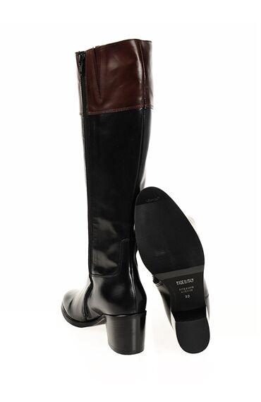 Topuklu Siyah Deri Çizme