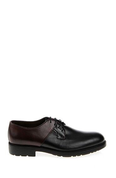 Bağcıklı Bordo-Siyah Deri Ayakkabı