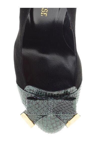 Yeşil-Siyah Topuklu Ayakkabı