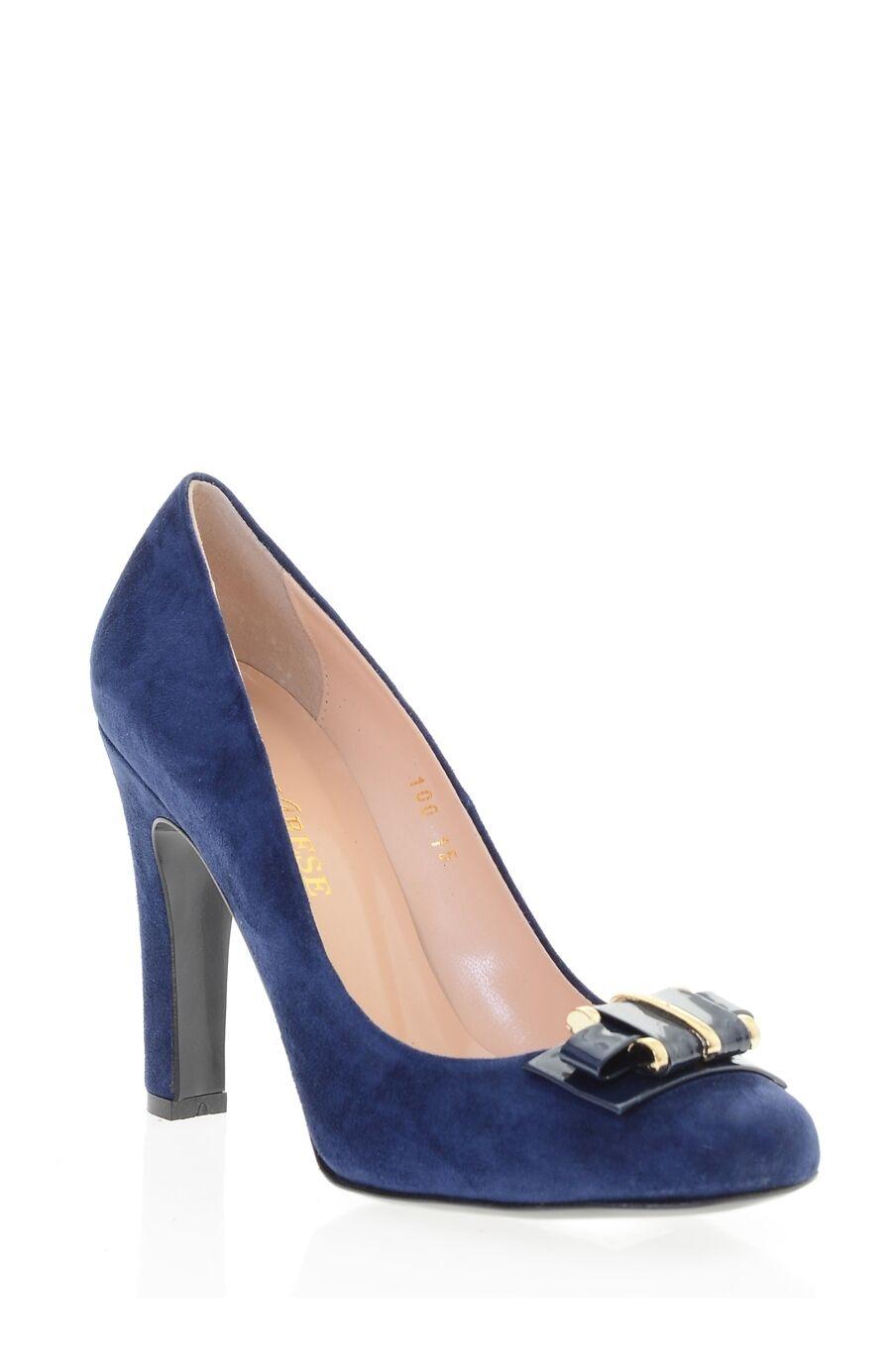 Tokalı Lacivert Süet Topuklu Ayakkabı