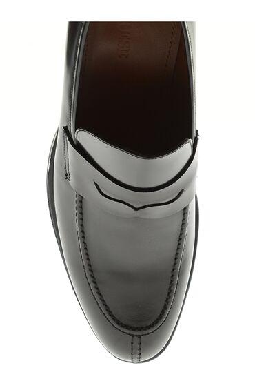 Bantlı Siyah Deri Loafer