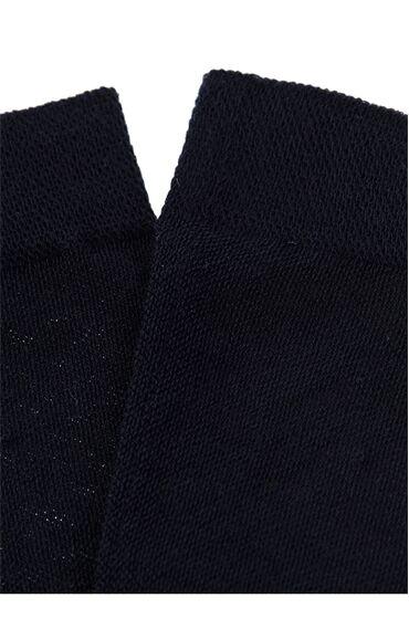 Desenli Lacivert Çorap