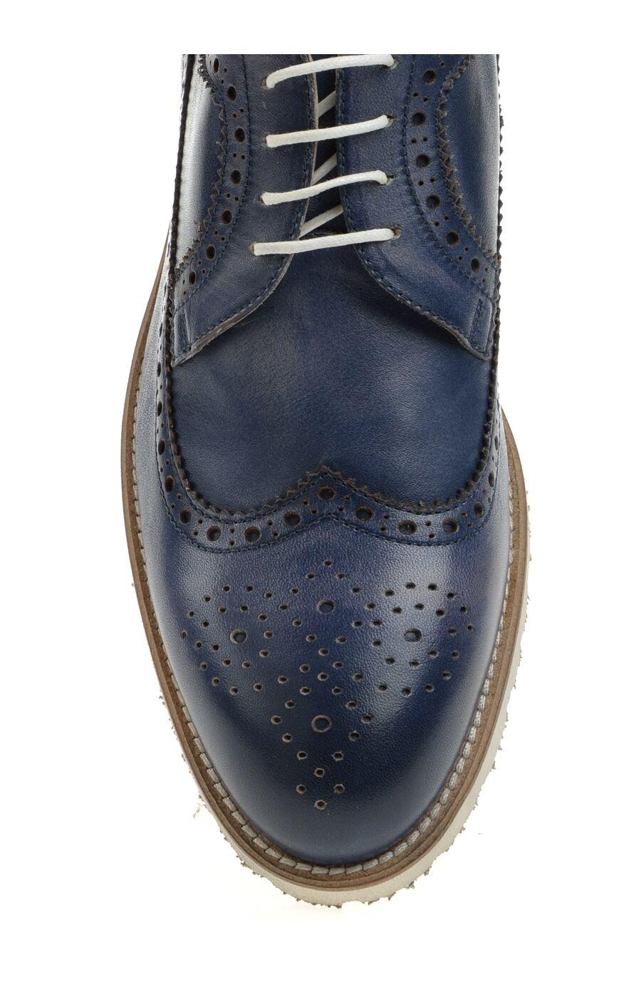 Lacivert Bağcıklı Deri Ayakkabı