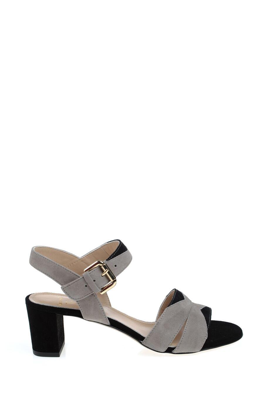 Siyah-Gri Bantlı Süet Ayakkabı