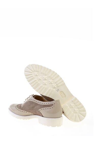Bağcıklı Bej Deri Ayakkabı