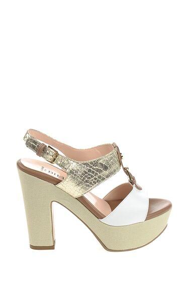 Topuklu Beyaz-Bej Deri Ayakkabı