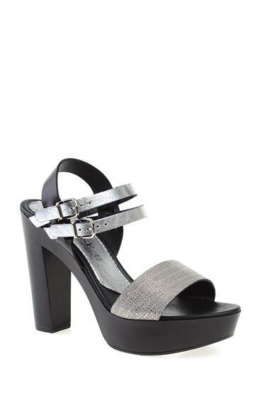 Topuklu Gümüş Abiye Ayakkabı
