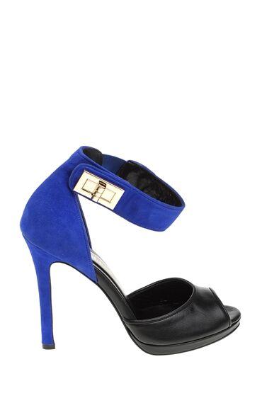Mavi-Siyah Topuklu Ayakkabı