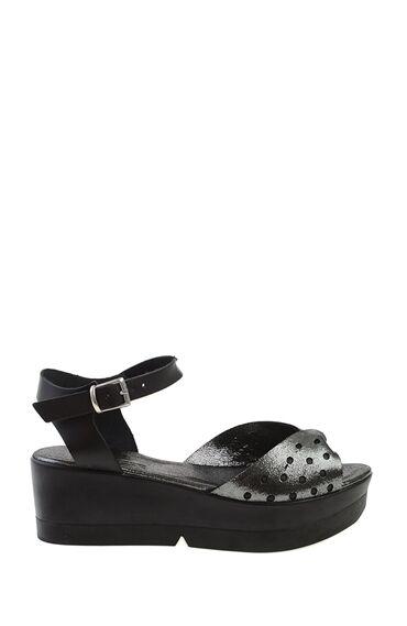 Feta Topuklu Siyah Sandalet