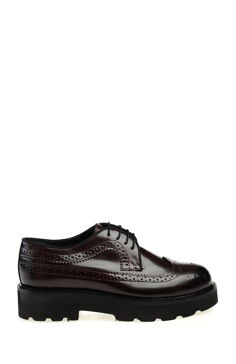 Bordo Deri Zımba Tasarım Ayakkabı
