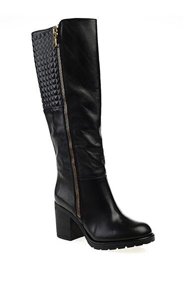 Smart Casual Siyah Deri Çizme