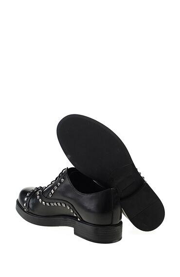Zımbalı Siyah Deri Ayakkabı