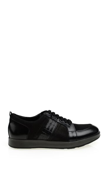 Siyah Deri Bağcıklı Ayakkabı