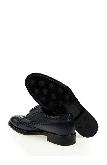 Lacivert Deri Bağcıklı Ayakkabı