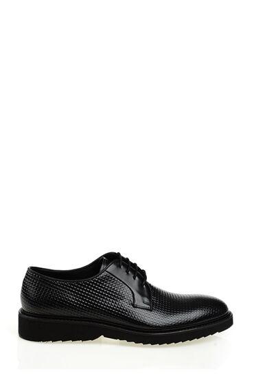 Siyah 3D Desenli Deri Ayakkabı