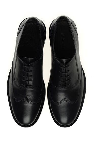 Siyah Bağcıklı Deri Ayakkabı