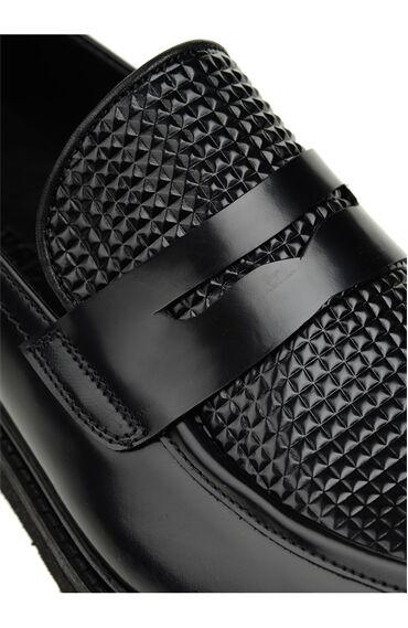 Baskı Detaylı Siyah Loafer