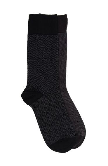 Bamboo Desenli Siyah Kahverengi 2'li Çorap Set