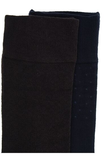 Bamboo Desenli Lacivert-Kahverengi 2'li Çorap Set