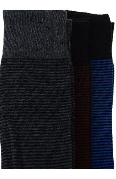 Çizgili Antrasit 3'Lü Çorap Set