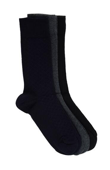 Baklavalı Lacivert 3'Lü Çorap Set