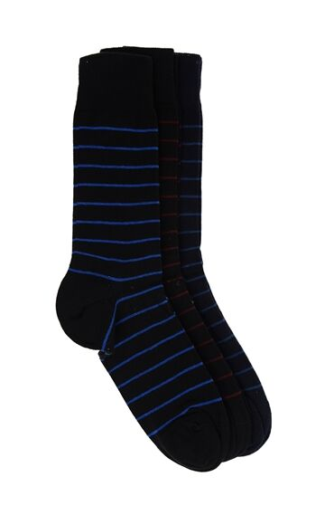 Çizgili Siyah 3 Lü Çorap Seti