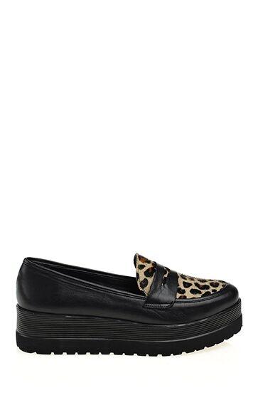 Siyah Leopar Desenli Deri Ayakkabı