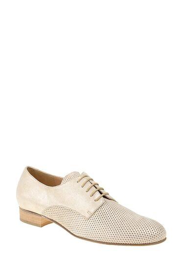 Bej Bağcıklı Deri Ayakkabı