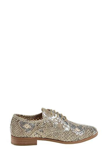 Gümüş Bağcıklı Deri Ayakkabı