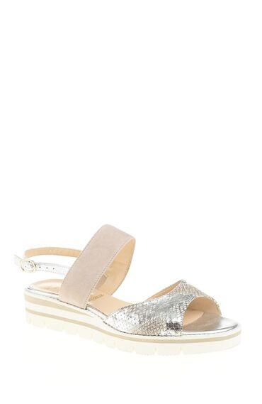 Yılan Baskı Gümüş Sandalet