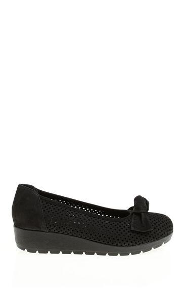 Platformlu Nubuk Siyah Ayakkabı