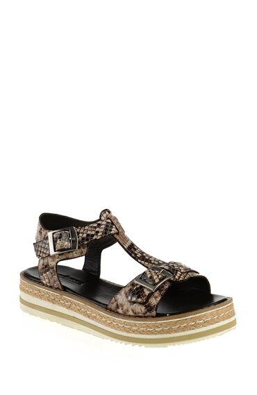 Baskılı Kahverengi Sandalet