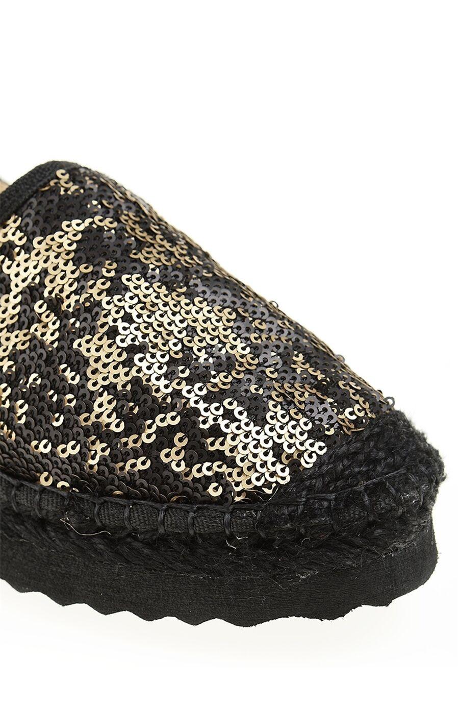 Payetli Siyah Espadril