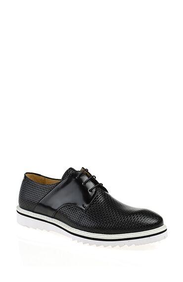 Baskılı Deri Siyah Ayakkabı