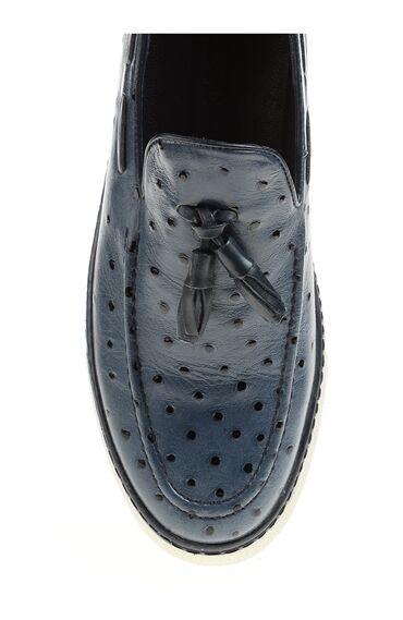 Desenli Lacivert Loafer