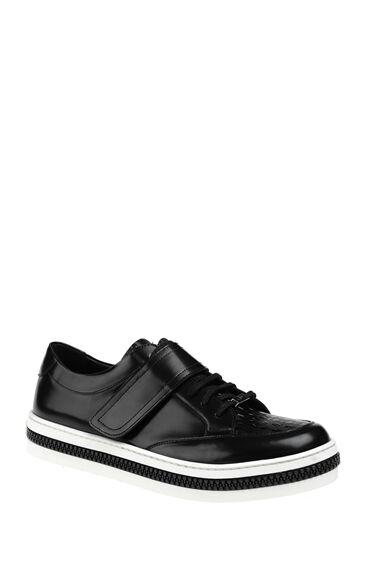Bantlı Siyah Deri Sneaker