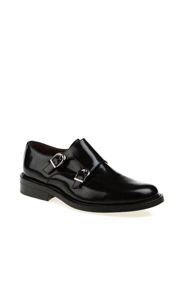 Siyah Deri Tokalı Ayakkabı