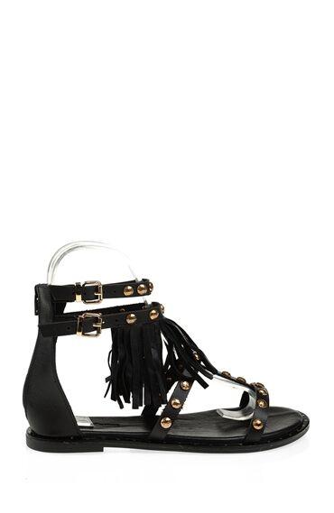 Trok Detaylı Siyah Sandalet