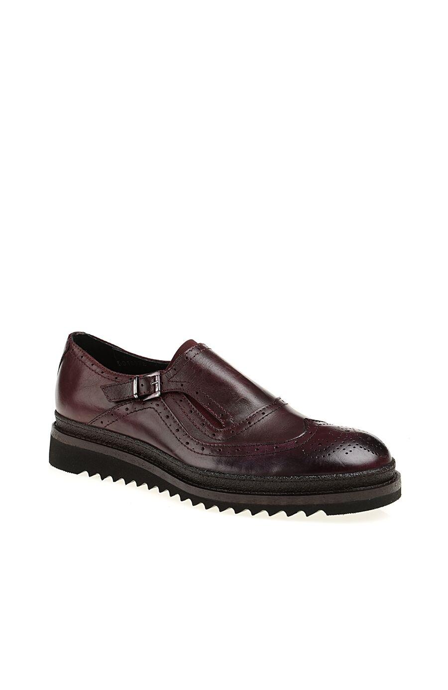 Zımba Desenli Tokalı Bordo Deri Ayakkabı