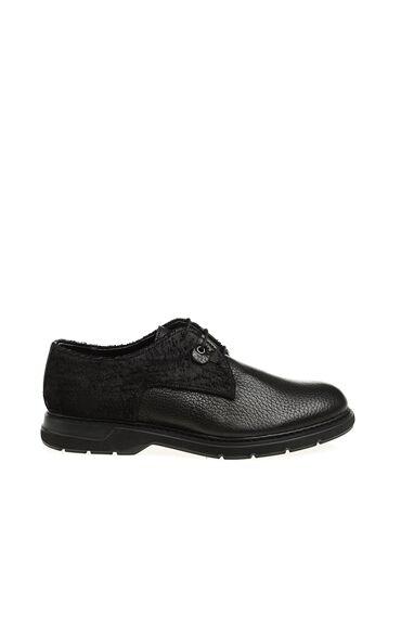 Bağcıklı Siyah Deri Ayakkabı