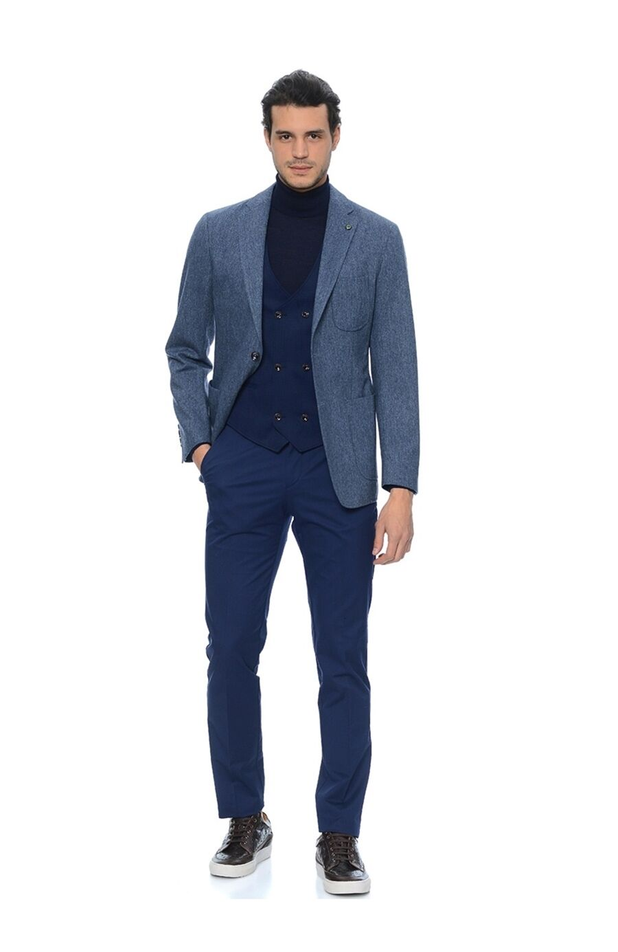 c2e8ab6644f5f Desenli Slım Fit Indigo Yeleklı Takım Elbise - 30029