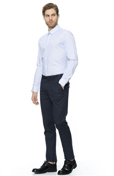 Baskılı Slim Fit Beyaz Saks Gömlek